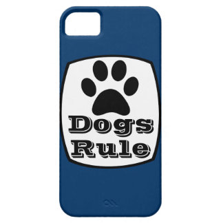 Dogs Rule Paw Print Blue iPhone 5 Case