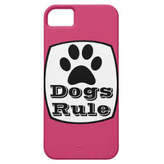 Dogs Rule Paw Print Hot Pink iPhone 5 Case