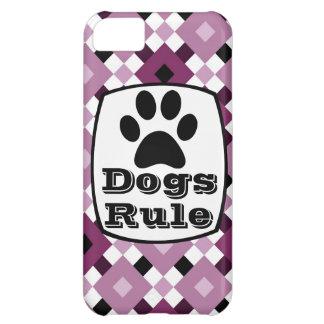 Dogs Rule Paw Print Purple Plaid iPhone 5 Case