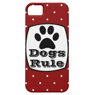 Dogs Rule Paw Print Red White Dots iPhone 5 Case