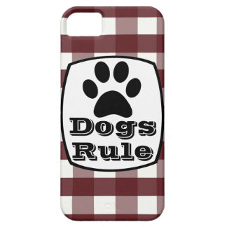 Dogs Rule Paw Print Red White Plaid iPhone 5 Case