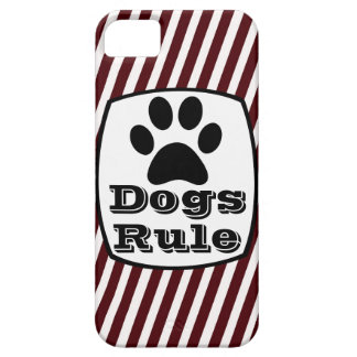 Dogs Rule Paw Print Red White Stripe iPhone 5 Case
