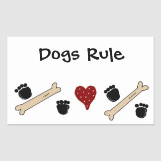 Dogs Rule - Paw Prints and Bones Rectangular Sticker