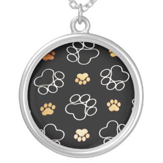Dogs Rule Paw Prints Gifts for Dog Lovers Silver Plated Necklace