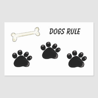 Dogs Rule - Paw Prints Rectangular Sticker