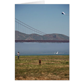 Dogs Running and Kite Flying in San Francisco Card