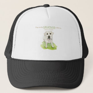 Dogs see the greatness within us watercolor trucker hat