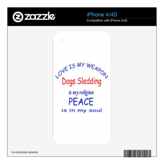 Dogs Sledding is my religion Decal For iPhone 4S