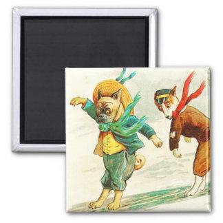 Dogs Sliding on Ice Vintage Magnet
