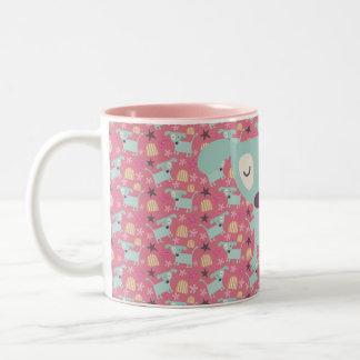 Dogs, Stars, and Flowers Two-Tone Coffee Mug