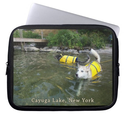 Dogs Swimming Life Jackets Computer Sleeve
