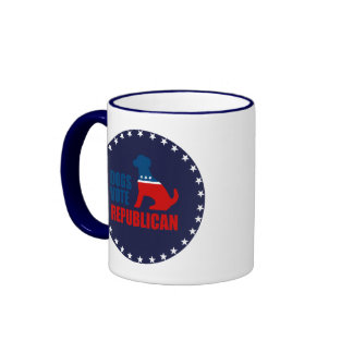 DOGS VOTE REPUBLICAN RINGER COFFEE MUG