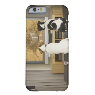 Dogs watching dog dish with food on TV Barely There iPhone 6 Case