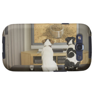 Dogs watching dog dish with food on TV Samsung Galaxy S3 Cover