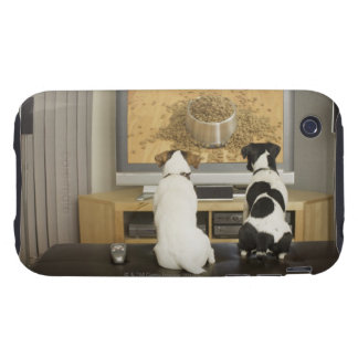 Dogs watching dog dish with food on TV Tough iPhone 3 Case