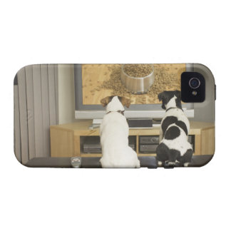 Dogs watching dog dish with food on TV Case For The iPhone 4