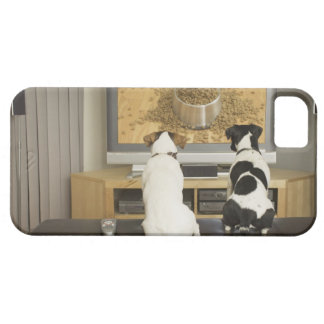 Dogs watching dog dish with food on TV iPhone 5 Cover