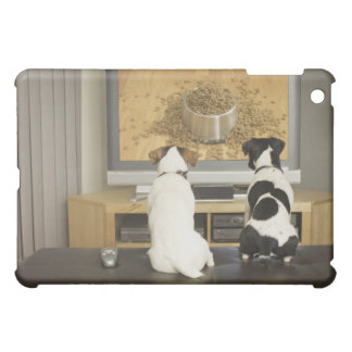 Dogs watching dog dish with food on TV iPad Mini Cover