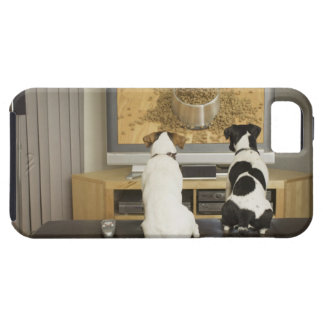 Dogs watching dog dish with food on TV iPhone SE/5/5s Case