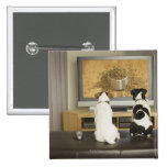 Dogs watching dog dish with food on TV Pinback Button