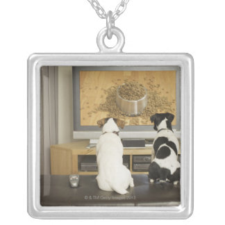 Dogs watching dog dish with food on TV Silver Plated Necklace