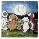 """Dogs Watching Moon Dark Blue 6"""" Tile Trivet<br><div class=""""desc"""">A detail from my painting,  """"Moon Dogs.""""</div>"""