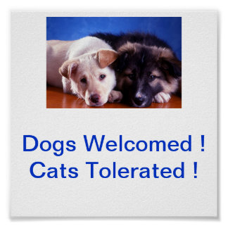 Dogs Welcomed Cats Tolerated Sign Poster