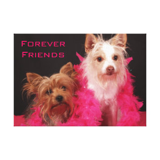 Dogs with Friends Quote Canvas Print