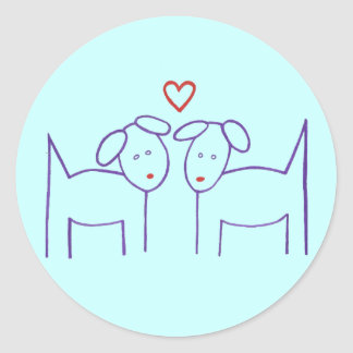 Dogs with Heart Classic Round Sticker