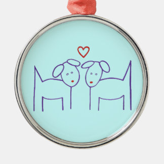 Dogs with Heart Metal Ornament