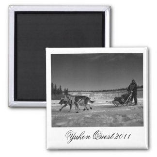 Dogsled Fun; Yukon Quest 2011 2 Inch Square Magnet