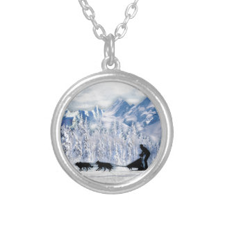 Dogsledding Silver Plated Necklace