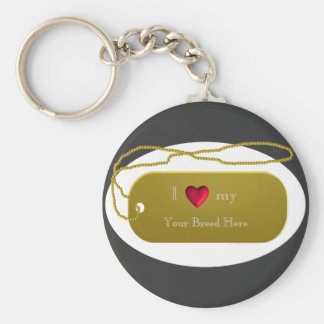 "Dogtag 24k Gold ""I love my dog""  template Keychain"