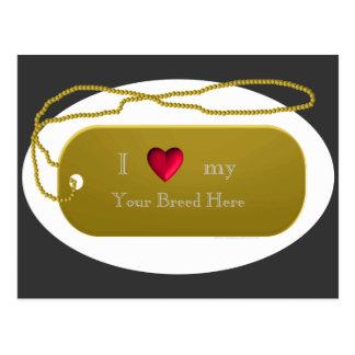 "Dogtag 24k Gold ""I love my dog""  template Postcard"
