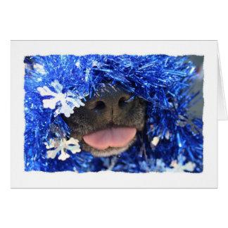 DogTongueOutBlueTinselsimpleframe Card