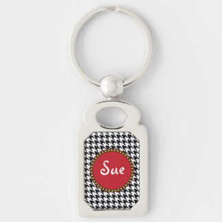 Dogtooth, Houndstooth pattern in Black&White Keychain