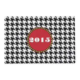 Dogtooth, Houndstooth pattern in Black&White Placemat