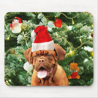 Dogue de Bordeaux Christmas Tree Snowman Gift Box Mouse Pad
