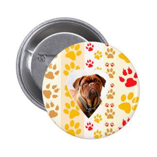 Dogue de Bordeaux Dog Heart Paws Print Button