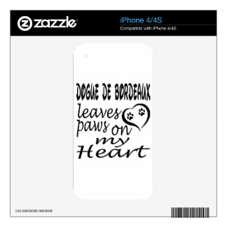 Dogue De Bordeaux Dog Leaves Paw On My Heart Skins For iPhone 4