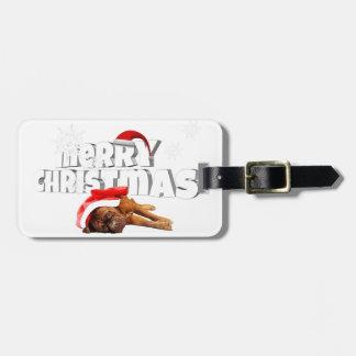 Dogue de Bordeaux dog Santa Hat Merry Christmas Bag Tag