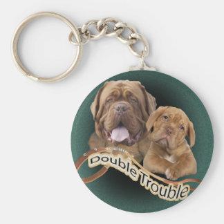 """Dogue De Bordeaux """"Double Trouble"""" apparel & Gifts Keychain"""