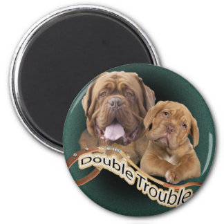 "Dogue De Bordeaux ""Double Trouble"" apparel & Gifts Magnet"