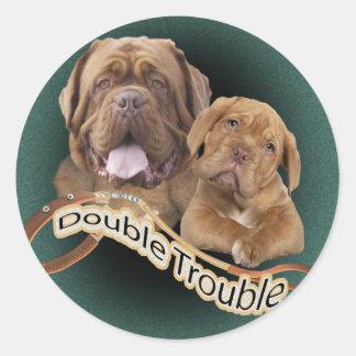 Dogue De Bordeaux Double Trouble Round Stickers