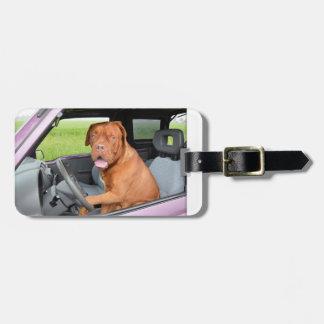 Dogue de Bordeaux driving.png Bag Tag