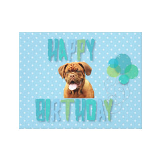 Dogue De Bordeaux French Mastiff Happy Birthday Canvas Print