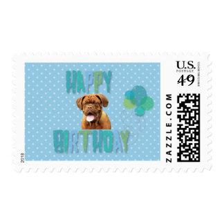Dogue De Bordeaux French Mastiff Happy Birthday Stamp