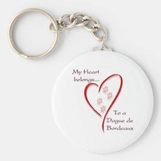 Dogue de Bordeaux Heart Belongs Key Chains