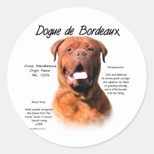 Dogue de Bordeaux History Design Classic Round Sticker