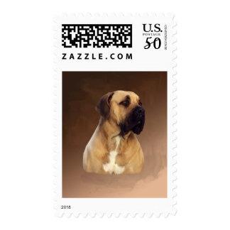 Dogue De Bordeaux Mastiff Dog Portrait Painting Postage
